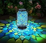 OhEffulgence Mosaic Solar Lantern Outdoor Hanging, Solar Table Lamps Outdoor Decorative in Teardrop Glass&Cool Blue Color, Metal/Glass Lantern for Garden, Patio, Pathway & Yard Decor, Large Size 11'H