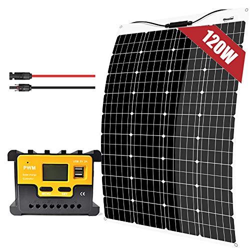 120W 12V Kit de panneau solaire monocristallin flexible Chargeur de batterie, régulateur de charge 20A, câble d'extension, pour camping-car Tentes camping-car caravane voiture bateau