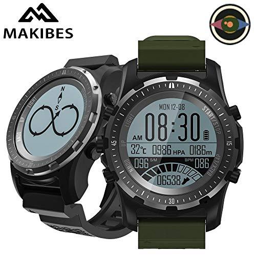 Makibes BR2 GPS Compass Tachimetro Sport Watch Bluetooth Escursionismo Multi-Sport Fitness Tracker Smart Watch dispositivi indossabili (verde)