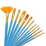 EWFD 12 unids/Set Pincel de Pintura de Artista de Nailon Profesional Acuarela acrílico Mango de Madera Pinceles de Pintura papelería