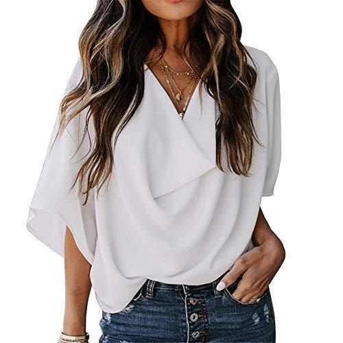 Casual plisado superior de las mujeres de verano nueva versin de color slido V-cuello de manga corta camiseta suelta