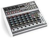 Vonyx VMM-K802-8-Kanal-Mixer, Mischpult, integrierter USB-Player, Bluetooth, 48 V Phantomspeisung, Höhen-, Mitten- und Tiefenregler pro Kanal, 16 vorprogrammierte DSP-Funktionen, schwarz