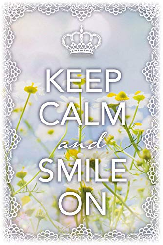 BlechschilderWelt Buddel-Bini Versand - Cartel Decorativo (Metal), diseño con Texto Keep Calm & Smile On