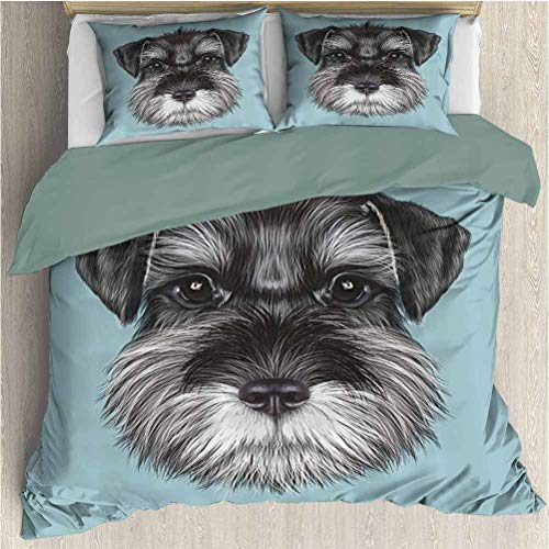 Animal Duvet Cover Bedding Set, Illustration of a Cute Baby Schnauzer on Blue Background Puppy Portrait, Decorative 3 Piece Bedding Set with 2 Pillow Shams, King Size, Light Blue Black White