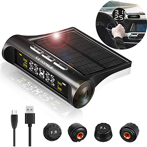 VETOMILE Wireless Tire Pressure Monitoring System Solar&USB Power TPMS with 4 External Sensors Real-time LCD Display 4 Tires' Pressure & Temperature Monitoring 14.5-72.5 PSI 1-5 Bar 6 Alarm Modes