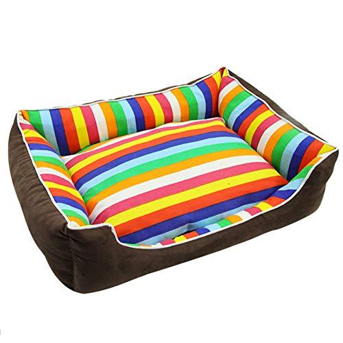 DWCA Rechteckig Hundematte Hundekorb, Abwaschbares Hundebett Gemütlich Bett Für Haustier Größe Wählbar-bunt L