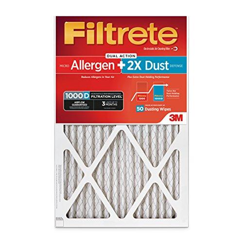 Filtrete AD00PL-2PK-6E Micro Allergen Plus Dust Filter, 2 Pack, 16 x 20 x 1, MPR 1000D HVAC Air, Uncompromised Airflow