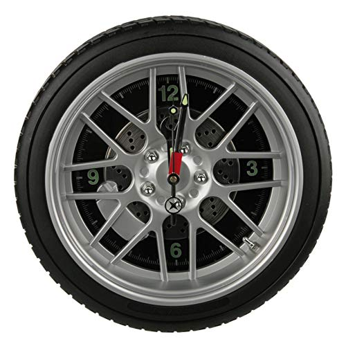 Preis am Stiel Wanduhr \'\'Reifen\'\' mit 16 LED | Felgen Uhr | mit Beleuchtung | Wanduhr modern | Groß | Geschenk für Männer | Wand Deko | Wohnzimmer