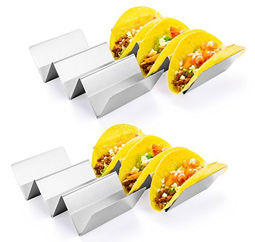 HapWay Taco Holder Stand, 4 Pack Stainless Steel Taco Truck Tray Style, Mexican Food Taco Rack Shells, Safe for Baking, Dishwasher and Grill Safe