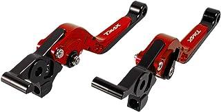 Klappbarer Motorradbrems  und Kupplungshebelsatz Ausziehbare CNC Aluminium Griffe für Tmax 530 2012 2019 (Rot)
