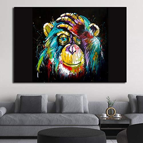 wZUN Pintura Animal Colorida Abstracta león Graffiti Mono Arte de la Pared Imagen Divertida impresión del Cartel de la Lona decoración del hogar 60x80 Sin Marco