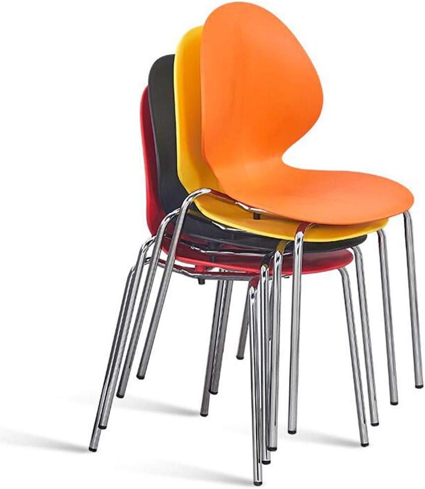 DALL Chaise De Salle À Manger en Plastique Empilable Jambes en Métal Chaise De Dossier Moderne Salle De Réunion Chaise De Réception Assemblée (Color : Orange) Red