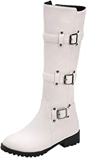 🌟 Sherostore 🌟 Womens Leather Knee High Fashion Low Heel Winter Riding Boots with Side Zipper Buckle Strap Boots