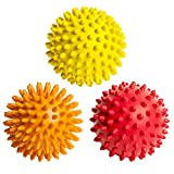 Octorox Spiky Massage Balls for Foot, Back, Muscles - 3 Spiked Roller Ball Massagers for Plantar Fasciitis Relief, Manual Therapy, Acupressure, Reflexology - Soft to Hard Spikes