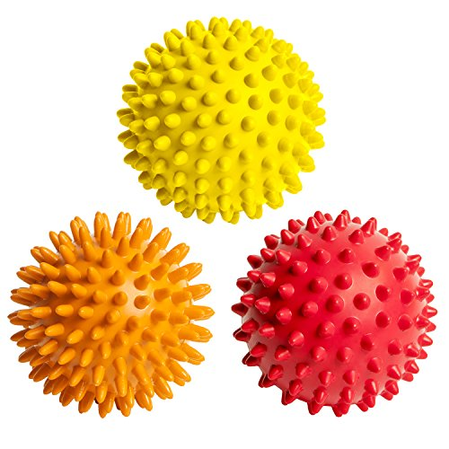 Octorox Spiky Massage Balls Foot Back Shoulder - 3 Spikey Ball Rollers, Plantar Fasciitis Pain Treatment Pack, Spiked Feet Arch Fascia Message Set, Fitness Point Accu-Pressure, Small Soft, Hard Spikes