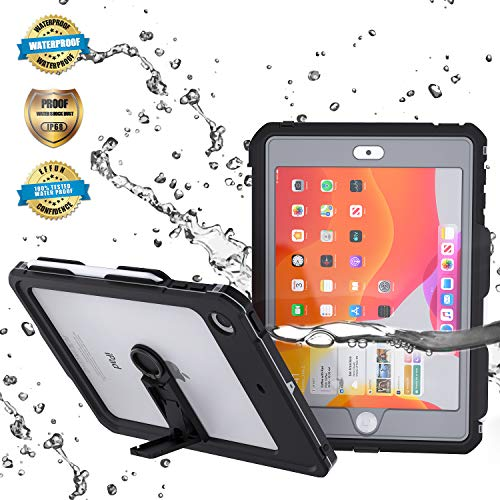 EFFUN iPad 10.2 Waterproof Case, IP68 Full Body Protection Built in Screen Protector Shockproof Snowproof Dustproof Tablet Cover for iPad 10.2/iPad7th Generation Black