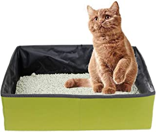 Oliiss Cat Travel Litter Box, Foldable and Portable Cat Little Box with Waterproof Compartment, Easy to Clean