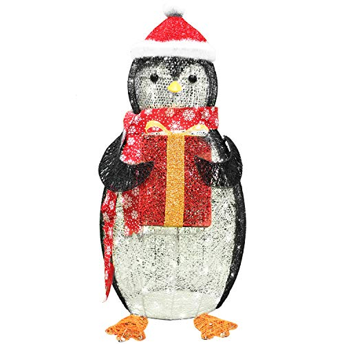 Joiedomi 3ft Cotton Penguin 120 LED Warm White Yard Light for Christmas Outdoor Yard Garden Decorations, Christmas Event Decoration, Christmas Eve Night Decor