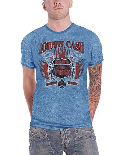 Johnny Cash T Shirt Distressed Ring of Fire Logo Oficial De Los Hombres Nuevo