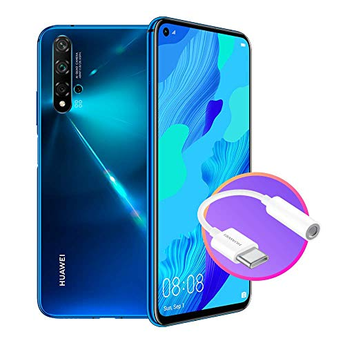 HUAWEI Nova 5T Smartphone con Jack Adapter, 128 GB + 6 GB RAM, Fotocamera Principale da 48MP, Processore Kirin 980 con Intelligenza Artificiale, Blue, Versione Italiana