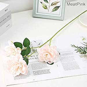 Artificial and Dried Flower 1pc Artificial Dahlia Flowers Wedding Gardenia 3 Heads Cape Jasmine Flower for Home Living Room Decoration – ( Color: Meat Pink)