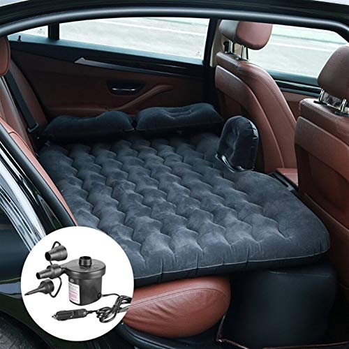 Car Travel Bed Back Seat Air Inflatable Sofa Mattress Multifunctional Pillow Outdoor Camping Mat Cushion Universal Big Size,Air Mattress Bed Air Mattress Bed (Color Name : Black with Pump)