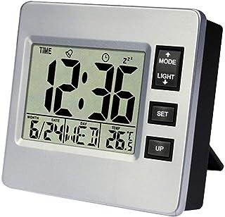 CONGGE PETSOLA Large Display Digital LCD Alarm Clock, Wall Clock Desk Alarm Clock with Calendar & Temperature Display