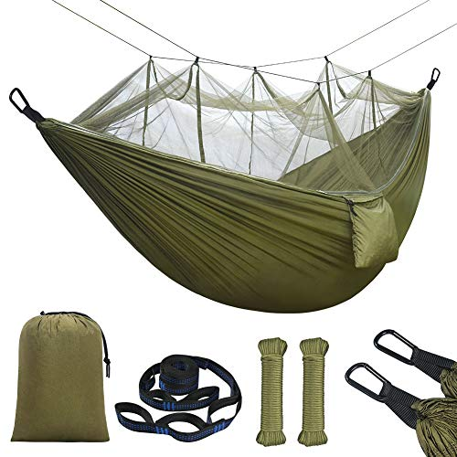 flintronic Hamaca de Camping con Mosquitera, Hamaca Nylon de Paracaida Ligera Portatil Secado Rápido, 210T Durable para Patio, Camping, Al Aire Libre, Backpacking, 260 * 140cm 2 Personas