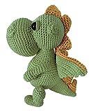 LOOP BABY - Gehäkelter Stofftier Drache Daniel klein in grün - Nachhaltiges Bio-Kuscheltier Dino aus Baumwolle - Babyspielzeug für Mädchen & Junge - Montessori Spielzeug Dinosaurier