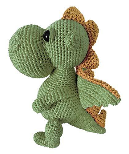 LOOP BABY - gehäkelter Drache Daniel in grün - gehäkeltes Kuscheltier für Baby/Mädchen/Junge aus Baumwolle