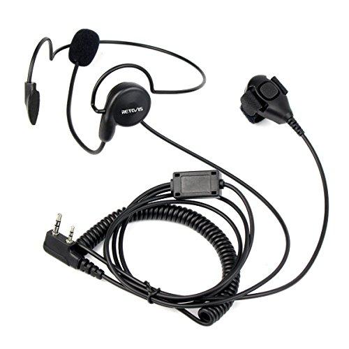 Retevis Funkgeräte Headset mit Mikrofon Finger PTT 2 Pin Kopfhörer Kompatibel mit Retevis RT24 RT27 RT22 RT21 RT81 Baofeng BF-88E BF-888S Kenwood TK-3401D Walkie Talkies(1 Stk.)