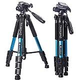 Trípode Ligero - Trípode Compacto para cámara de 140cm con Cabezal panorámico de 360 Grados y una Placa de liberación rápida para SLR Canon Digital EOS Nikon Sony Samsung Panasonic(Azul)