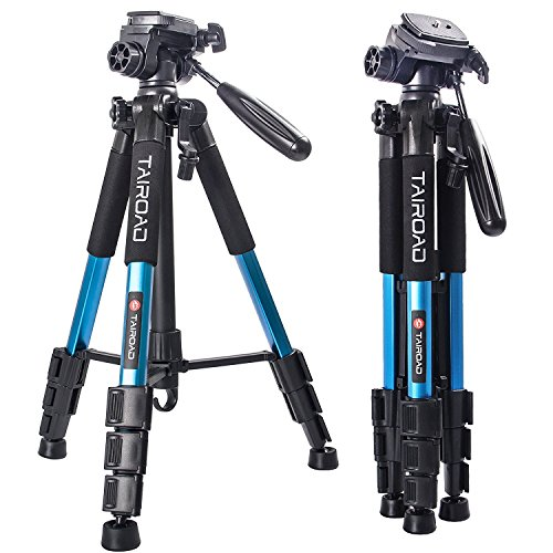Tairoad Compact Tripod Portable Travel Lightweight Tripod with Pan Head and Quick Release Plate for Digital SLR Canon EOS Nikon Sony Panasonic Samsung - Blue