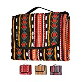 LIVN LIFE Outdoor Waterproof Picnic Blankets Extra Large. Sandproof & Waterproof Blanket for Beach, Park, Camping, Festivals or Travel. Large Picnic Blanket but Portable and Foldable (Black/Orange)