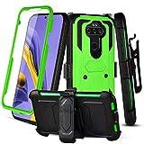 RioGree Phone Case for LG Aristo 5 / Phoenix 5 / Fortune 3 / Risio 4 / Aristo 5 Plus +/ Tribute Monarch/ K8X / K31 with Belt Clip Built in Screen Protector Kickstand Heavy Duty Durable Sport (Green)