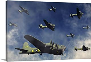 GREATBIGCANVAS Gallery-Wrapped Canvas Entitled A Formation of B-17 Flying Fortress Bombers. by 48
