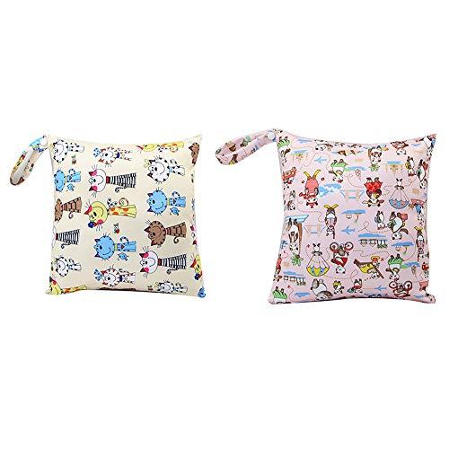 Baby Reisen Windeltasche,Wickeltaschen für Nasse und Trockene Kleidung Reißverschluss Wasserdicht Waschbar Nasstaschen,Multifunktionale Tragbare Tasche (2 Stück)