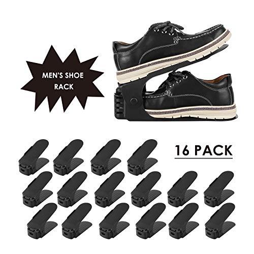 femor 16PCS Schuhstapler, Schuh Slots, für große Schuhe, 3 höhenverstellbar, Schuh-Organizer, platzsparendes Schuhregal aus Kunststoff