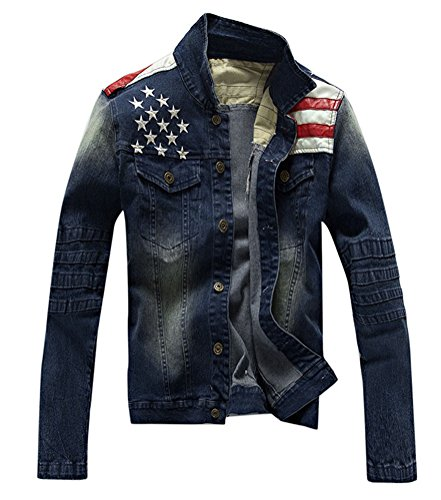 Lashapear Men's Fitted Motorcycle Blue Jeans American Flag Patriot Denim Jacket, Blue, Small