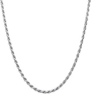 925 Sterling Silver chain Italian diamond cut Rope Chain 1.3 mm, 1.5 mm, 2 mm, 2.3mm, 2.5mm, 3mm For Women & Men 16-36 Inches New Solid 925 Italy Necklace - Lobster Claw Clasp With Extra Clasp