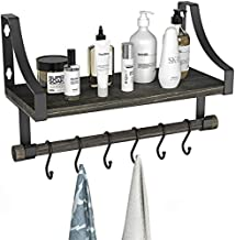 Wall Mounted Bathroom Shelf with Towel Rack and 6 Hooks, Rustic Storage Floating Shlef for Coffee Bar, Kitchen Shelf, Bathroom and Living Room by Amada AMFS10