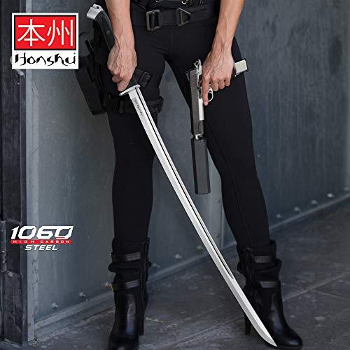 Honshu Boshin Katana - Modern Tactical Samurai/Ninja Sword - Hand Forged 1060 Carbon Steel - Full Tang, Fully Functional, Battle Ready - Black TPR, Steel Guard, Pommel, Lanyard Hole