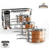 Gotham Steel Stackable Pots and Pans Set – STACKMASTER Complete 15 Piece Space Saving Ultra Nonstick Cookware Set, Includes Frying Pans, Skillets, Saucepans, Stock Pots, Induction & Dishwasher Safe
