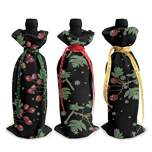Fun Christmas Ornaments Hawthorn Branch Red Fruit 3pcs Chirtmas Wine Bottle Cover Decoration Cover Bags Gift Christmas Home Wedding Decor Liquor Bottle Covers
