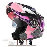 QPFH - Casco de Moto Modular para Moto, Casco Doble abatible, Deporte piloto, para el piloto, para Adultos, Hombres y Mujeres, Rosa, B