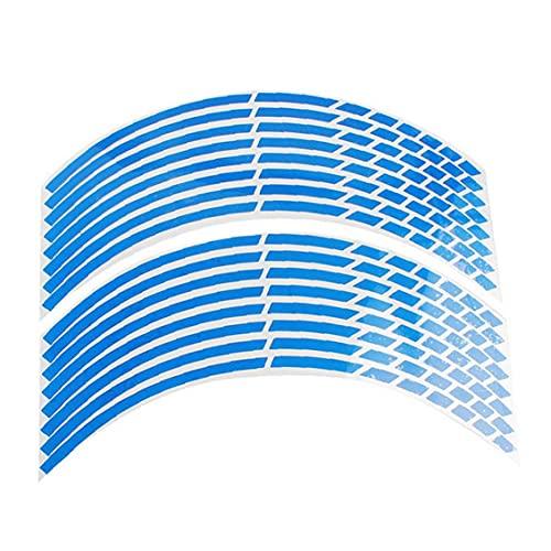 FeelMeet Fondo de llanta de Rueda de la Etiqueta engomada reflexiva Punto de interrupción de la Raya de la Motocicleta Multi Uso de la Bici Azul del Coche de 16 PC 17 a 18 Pulgadas