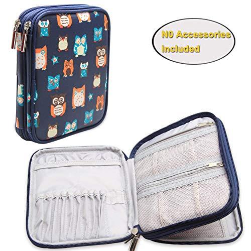 Teamoy Nähset Tasche für Strick- und Häkelnadeln mit Reißschluss (kein Zubehör im Lieferumfang enthalten), Eulen