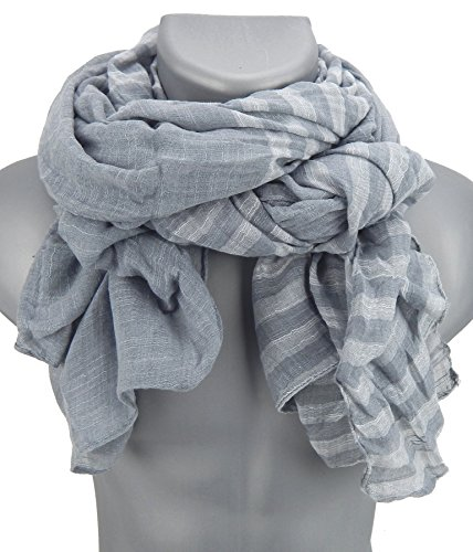 Ella Jonte Écharpes foulard d'homme élégant et tendance de la dernière collection by Casual-style gris à rayueres