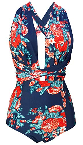COCOSHIP Red Pink & Navy Blue Antigua Floral One Piece V-Neck Swimsuit Bather High Waisted Criss Cross Cruise Maillot S(FBA)