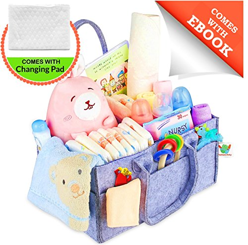 Diaper Caddy Portable Changing Pad Kit | Nursery Storage Organizer Bin with Waterproof Mat for Girls, Boys, Newborns, Infants & Toddlers | Perfect Baby Shower Gift, Car Travel